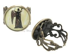 NEW BBC Doctor Dr Who Weeping Angel Ring Adjustable Burnished Gold Filigree Band