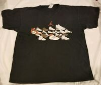 Nike Air Jordan Black Shirt With Kicks Jordans Shoe Graphics Mens Size XL