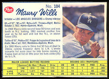 1962 POST CANADIAN BASEBALL #104 MAURY WILLS EX-NM LOS ANGELES L A  DODGERS CARD