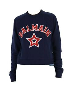 Balmain Navy And Red Logo Print Sweater - Size S