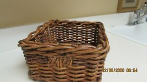 """Storage Basket Woven Wicker Very Good Condition   6"""" High  10""""  Square"""