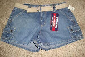 AEROPOSTALE Utility Denim Jeans Shorts Beige Belt Size 5/6