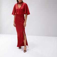 BNWT Coast Kris Red Satin Choker High Slit Maxi Evening Dress Ball Gown Size 14