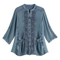 FLORIANA Women's Floral Embroidered Tunic Top, Enzyme Wash Finish 3/4 Sleeves