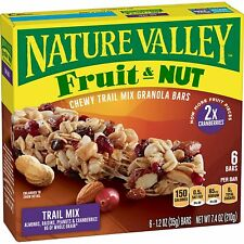 Nature Valley Chewy Granola 6-1.2oz Bars Fruit & Nut, Trail Mix, DATE: JULY 2020