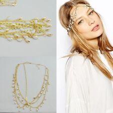 Stirnband Weisse Perlen Haarband Haarkette Haarschmuck Tikka Stirnschmuck 19