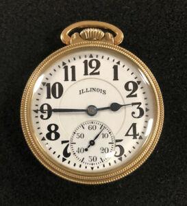 1943 Illinois Bunn Special Pocket Watch 21 Jewel 10K Gold Filled Elinvar 161A