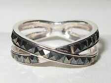 Lovely unusual solid 925 sterling silver & Marcasite crossover design band ring