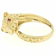 Bold 14k Solid Yellow Gold Textured Panther Head Wrap Ring w/ 2 Round Ruby Eyes