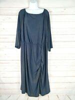 IGIGI Blue/Gold Metallic Shimmer Plus Sized Ruched Dress 3/4 Sleeves 26/28