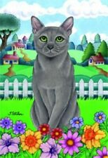 Spring House Flag - Russian Blue Cat 76006