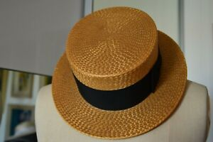 "Straw Boater Hat Vintage Battersby & Co 22 1/2"""