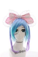 LH-06-1 Rosa Riesen XXL Schleife Gothic Lolita Haarreif Headband Cosplay Maid