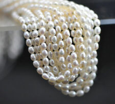 """4-5mm Genuine Natural White Rice Freshwater Pearl Loose Beads 15"""" Strand"""