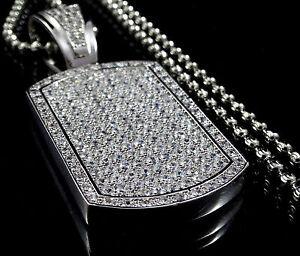 New Unisex14k White Gold Finish Dog Tag Necklace Pendant+ Moon Cut Chain Charm