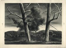 """RUSSELL T. LIMBACH: """"LOCUST TREES"""" SIGNED ORIGINAL LANDSCAPE LITHOGRAPH CA 1939"""