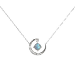 "925 Sterling Silver 18"" Necklace Opal CZ Stones Moon Crescent Pendant Gift PE55"