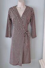 Ann Taylor Black Geometric Print Jersey Knit Wrap Career Dress Women 4 Small