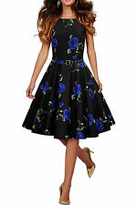 138 NEW AUDREY BLUE FLORAL ROCKABILLY SWING WEDDING PARTY PROM DRESS SIZE 8