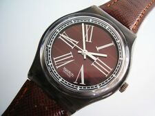 """SIGN OF TIMES! 1st """"SOLAR"""" Swatch with Brown Leather Band-NIB!"""