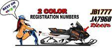 "Custom Snowmobile Registration 2"" Numbers Pair Decals Sticker Vinyl 2 Color!"