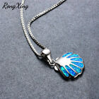 Rong Xing Charm Shell Blue Fire Opal Pendant Necklace 925 Silver Box Chain Women