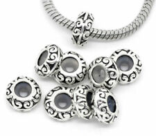 2/4/10 Antique Silver Plated Spacer Stopper Charm Bead fits European Bracelets