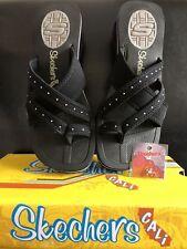 Womens Skechers Black Flip Flop Sandals Wedge FREE TOE RING Studded Diamonds sz7
