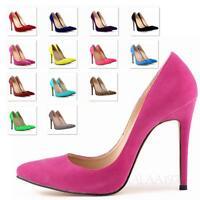 Womens Pumps high Stiletto Heel Party Mega Heels faux Leather Shoes Size 13-4