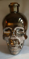 New Glass Skull Decanter 24oz      Chrome Finish With Cork Stopper FREE SHIPPING