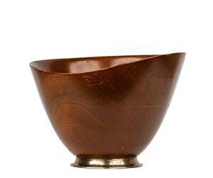 Vintage Signed Sterling Silver & Mahogany Danish Modern Form Salad Bowl