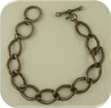 "Toggle Clasp Charm Bracelet ~ Burnished Finish Silver Plate Metal ~ Size 7"" - 8"""