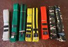 8 SWIFT MTI Karate Martial Arts Belts - White, Green, Yellow, Orange, Camo