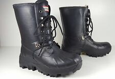 $365 size 6 Hunter Black Waterproof Lace Up Real Fur Cold Weather Winter Boots