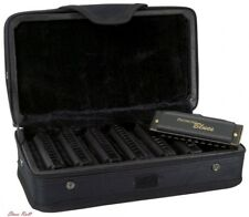Harmonica Set Blues Zippered Case Harps Matte Black Cardboard Sleeve Lightweight