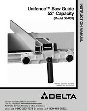 "Delta 36-889 Unifence Saw Guide 52"" Instructions Manual"