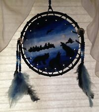 New listing Wolf / Wolves Dream Catcher Leather And Felt With Beads & Feathers, 9 1/2 Inches