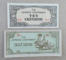 Two Japan World War 2 Occupation Bank Notes Half Rupee and Ten Centavos Note