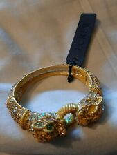 J.CREW NWT Pave Rhinestone Leopard Dragon Tiger Yellow Clamper Bangle Bracelet