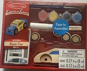Melissa & Doug Create A Craft Wooden Race Car Toy Kit Assemble Paint Decorate