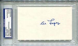 AL LOPEZ Vintage Signed Index Card HOF Brooklyn Dodgers Pirates Indians PSA/DNA