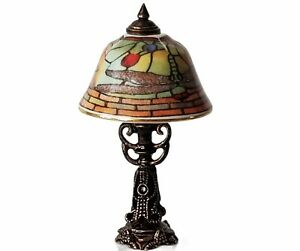 Miniature Dollhouse Reutter Porcelain Tiffany Style Table Lamp Dragonfly Shade