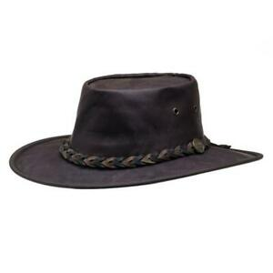 Barmah Squashy Roo Hat - Brown Crackle Australian Kangaroo Leather