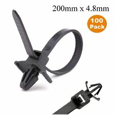 100 x Black Push Mount Winged Cable Ties 200mm x 4.8mm Car Chassis Fixing Base