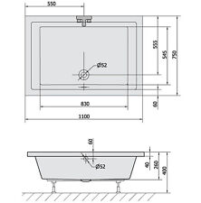Duschwanne 26cm tief, 6 Größen lieferbar, passende Duschkabine oder Nischentür