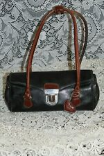 Vintage Small **RINA RICH** 2-tone,Satchel Purse  Black/Brown Leather