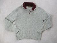 VINTAGE Eddie Bauer Sweater Adult Large Gray Red Pullover Wool Blend Mens 90s