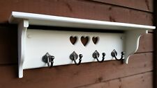Shabby Chic coat rack with shelf. 4 hooks