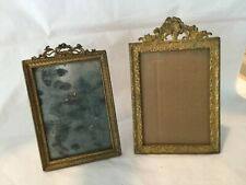 Two antique easel back gilt brass and dore bronze frames Royal M