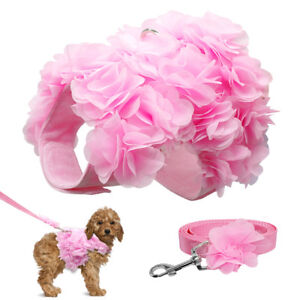 Pink Small Dog Harness and Leash with Fancy Flower for Pet Puppy Cat Chihuahua